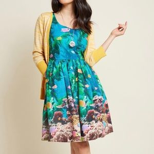 ModCloth Aquarium Fish Fit & Flare Dress